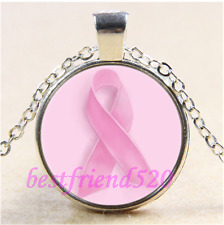 Breast Cancer Awareness Pink Ribbon Glass Tibet Silver Pendant Necklace#CD49