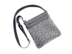 COACH Men's Charcoal/Black Bowery Crossbody Signature Shoulder Bag  F71877