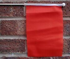 "PLAIN RED HAND WAVING FLAG medium 9"" X 6"" wooden pole flags START END RACE"