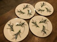 Set of 4 - Vintage Fine Arts LILY OF THE VALLEY Dinner Plates 62254 Excellent