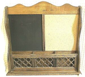Vintage mail Organizer holder cork Memo Chalk Board Pen tray  70's