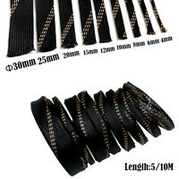 5M 10M Cable Protection Sleeving Black+Gold Tight Braided PET Expandable Sleeve