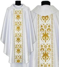 White Gothic Chasuble with stole 557-B25 Vestment Casulla Blanca Weiss Kasel