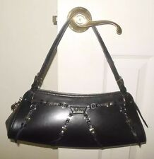 CHRISTIAN DIOR HANDBAG BLACK LEATHER SHOULDER BAG PURSE EUC
