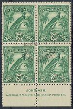 NEW GUINEA 1932 UNDATED BIRD 21/2D IMPRINT BLOCK CTO