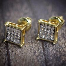 Gold Earrings Small Square Shaped Mens Hip Hop Studs