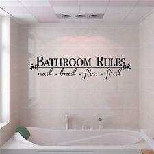 """Nuovo Arte Citazione Da Muro Adesivi """"Bagno Rules"""" Decorazione Decalcomania"""
