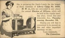 Woman Cooking Dutch Lunch Liberty Camp Mwa Milwaukee? Illustrated Postal Card