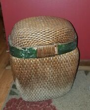 Large Old Antique Fishing Creel Basket With Lid~Wooden Band~Nicely Woven~Patina!