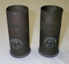 Wwi Small Pair Of Trench Art Vases With Eagles