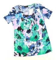 Saloos Womens Size S Floral Blue Top (Regular)