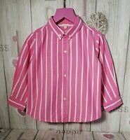 Gocco Girl's Pink Long Sleeve White Striped Button Up Shirt ~ Age 3 years (3A)