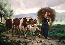 "Julien Dupre, Cows, Sheep, Farm, Landscape, antique decor, 16""x11""  Art print"