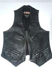 Vintage Easyriders Black Leather Moto Biker Vest Zipper Women's Small Punk Rock