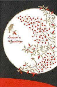 Greeting Card - Nanten Moon Bird - Season's Greetings - Made In Japan F/S
