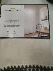 "84""x54"" Stitched Edge Light Filtering Curtain Panel Cream Threshold™FEDEX 2 DAY"