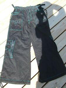 "New Men's S 32"" Vintage Tripp NYC Black Green Stitch Metal Chains & Spike Pants"