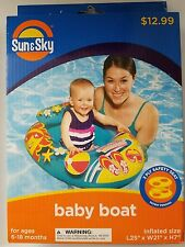 Sun & Sky Inflatable Baby Boat Tube Pool Float Blue