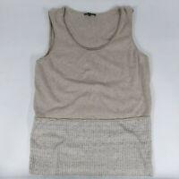 Lafayette 148 sleeveless knit top tank Cotton Linen Blend in Oat woman MEDIUM