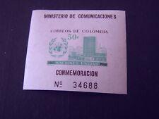 COLOMBIA, SCOTT # 725, SOUVENIR SHEET UNITED NATIONS ANNIVERSARY 1960 ISS  MVLH