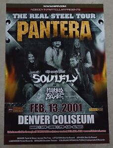 Pantera & Soulfly Original Concert Poster 2001 Denver CO Reinventing the Steel