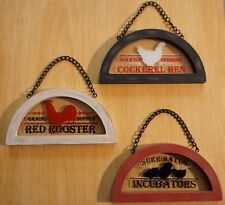 3 Glass Window Red Rooster Signs Set Painted Stained Wood Farm Kitchen Decor NEW