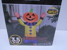 Halloween Inflatable Happy Pumpkin Clown Yard Decoration Gemmy Airblown 3.5'