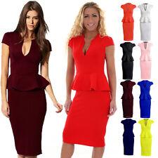 Womens Cap Sleeve Plunge V Neck Knee Length Peplum Frill Midi Bodycon Dress Wine 18
