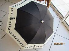 """DUBOUT. PARAPLUIE pliant  avec dessins """"Les chats"""" noir et beige"""