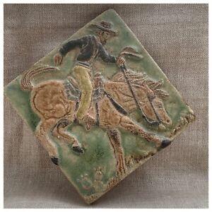 "Vintage Mission Style Tile Cowboy/Gaucho California Pottery 3 Dimensional 6""X 6"""