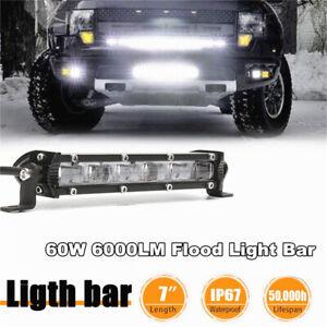 "1Pc 7"" 60W Aluminum Flood Beam Slim LED Work Light Bar Car Off Road Lamp-US"