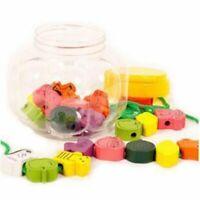 UK Kids Puzzle String Toy Wooden Lacing Beads Animal Blocks Box Threading Toys