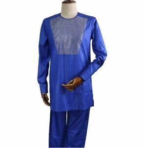 H & D Mens Blue African Diamond Design Top  (Size: XXL)