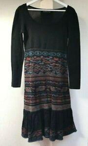 Peruvian Connection black brown blue ornament pima cotton dress size S Made Peru