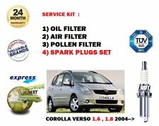FOR TOYOTA COROLLA VERSO 1.6 1.8 2004--> OIL AIR POLLEN FILTER KIT + PLUGS SET