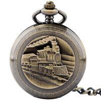 Bronze Mechanical Retro Vintage Train Wind up Pocket Watch Fob Chain Steampunk