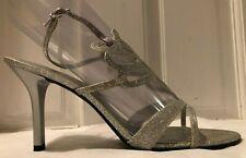 Nine West Report Me Silver Glitter Women's High Heel Sandals w Cutouts Size 11