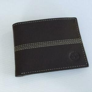 TIMBERLAND BROWN MENS  LEATHER PASSCASE WALLET