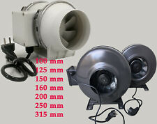 Rohrventilator Rohrlüfter 2 Stufen 100 125 150 160 200 250 315 mm  fuss +kabl