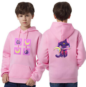 Sailor Moon Luna Hoodie Sweater Kids Small Boys Girls Casual Pullover Tops