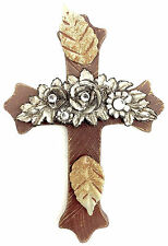 Wall Brown Cross with carved Flowers & Sparkles - Wood, Metal