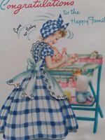 Vtg UNUSED Lady GINGHAM DRESS w BABY Congrats Happy Family Doehla GREETING CARD