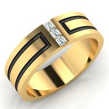 Real 0.09CT Diamond Engagement Mens Rings Fine 14Kt Yellow Gold SI1/I-J Round133