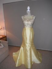 Designer Madison James Ladies Yellow Sequin/Beaded Formal/Evening/Gown Size 4