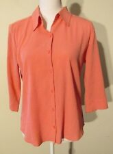 S7752 Christopher & Banks Women's Small Pink Checks 3/4 Sleeve Button Up Blouse