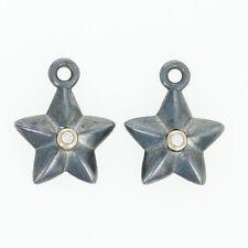 NEW 2 Pandora Stella Diamond Earring Charms Silver & 14k Gold Compose 290659D