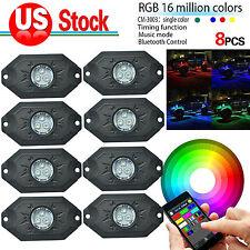 8x Pods Music Mini Bluetooth RGB LED Rock Light 4x4 Offroad Vehicle DRL Jeep SUV
