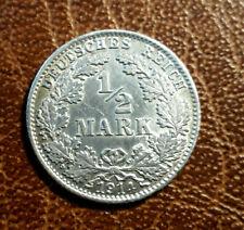 1/2 Mark, Deutsches Reich, Silber 1914 D,  vorzüglich, Toller Glanz