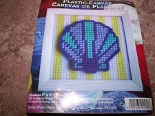 """Design Works SEASHELL Plastic Canvas Kit 5"""" x 5"""" WITH Frame"""
