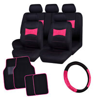Universal Car Seat Covers with lace Steering Wheel Cover & Car Floor Mats Pink